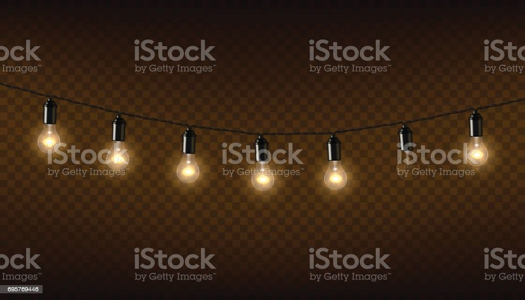 Vector garland of lamps on brown transparent background. vector art illustration