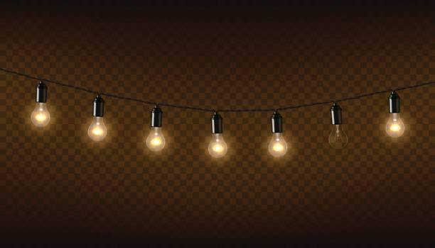vector garland of lamps on brown transparent background. - иллюминация stock illustrations