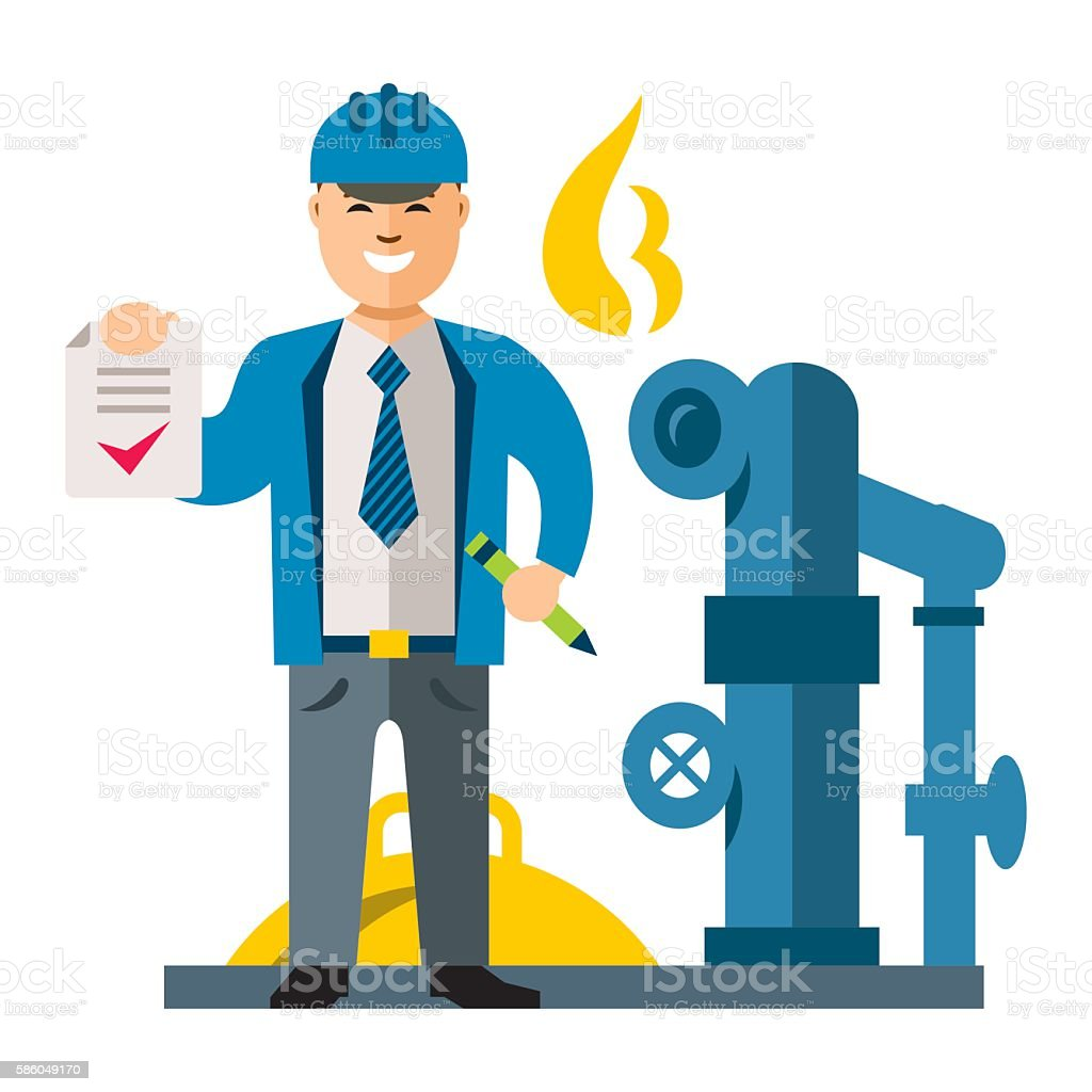 Vector Gas Manager. Flat style colorful Cartoon illustration. vector art illustration