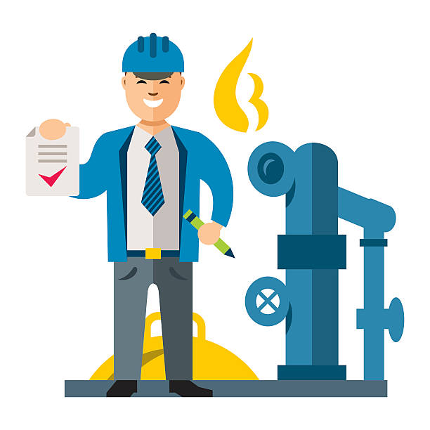 vector gas manager. flat style colorful cartoon illustration. - sicherheitsventil stock-grafiken, -clipart, -cartoons und -symbole