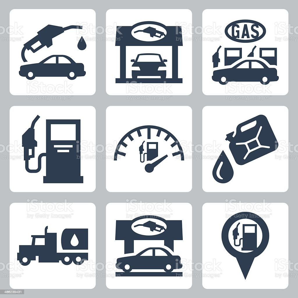 Vector gas station icons set vector art illustration