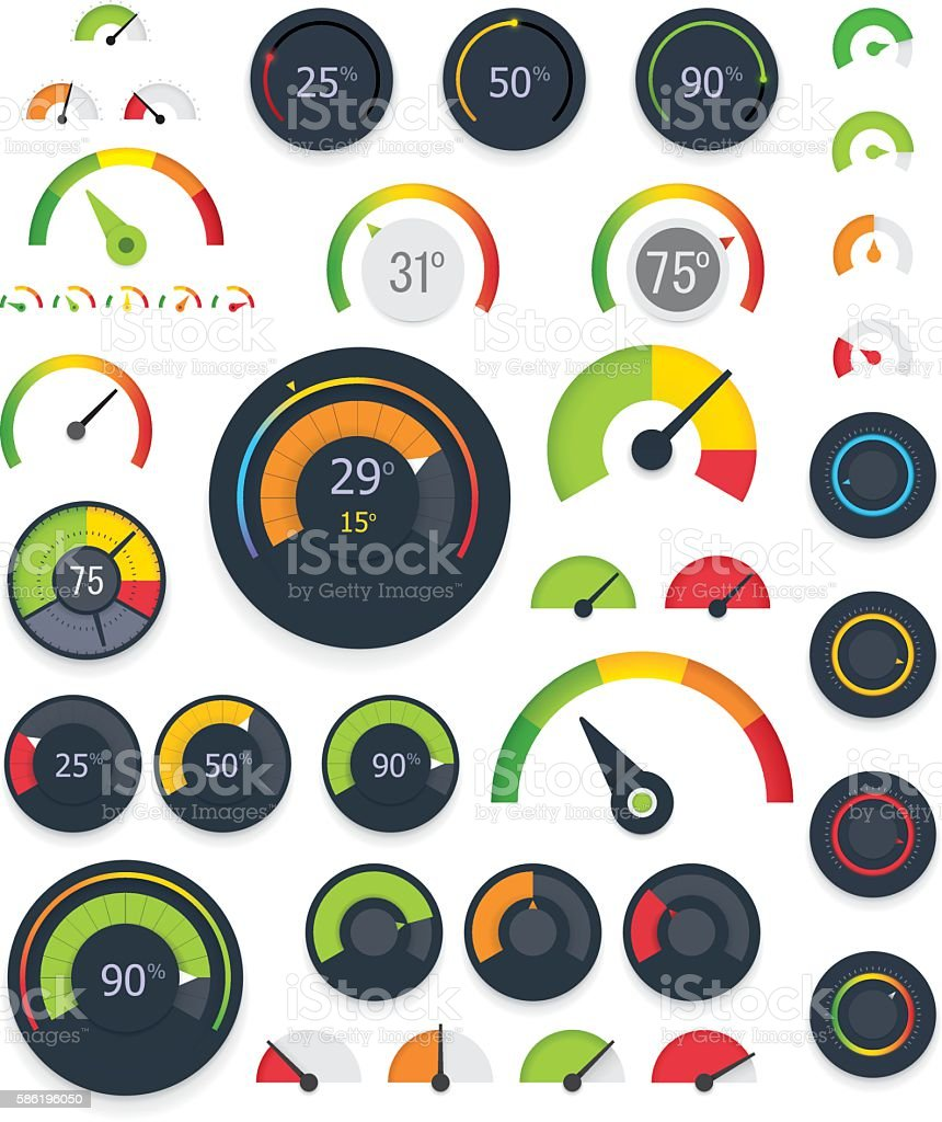 Vector gauges set vector art illustration