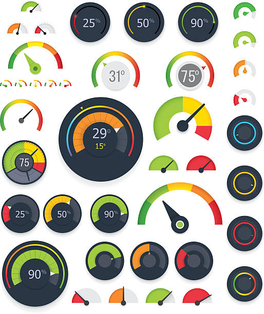 vector gauges set - messgeräte stock-grafiken, -clipart, -cartoons und -symbole