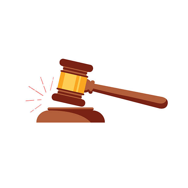 Vector gavel isolated icon Vector gavel isolated icon. Auction hammer simbol. Law judge gavel icon. Flat design style. Wooden gavel with a brass band resting on a plinth used by a judge or auctioneer and conceptual of justice judge law stock illustrations
