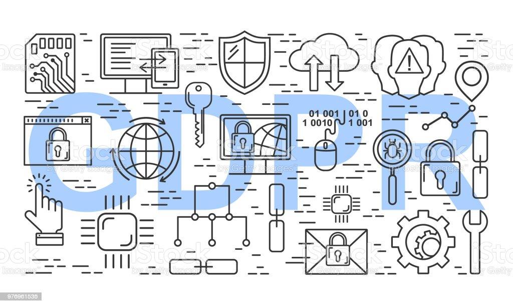 Vektor Dsgvo Datenschutzgrundverordnung Muster Mit Linie Stilikonen