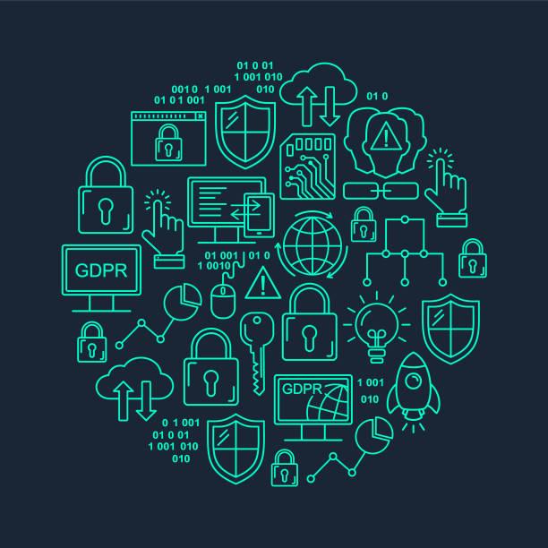 Vektor-DSGVO - allgemeine Datenschutzverordnung Runde Form Muster mit Linie Stil-Ikonen. Web Datenschutz und Sicherheit hell Cyan auf schwarzem Hintergrund. – Vektorgrafik