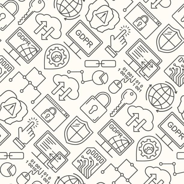 Vektor-DSGVO - Datenschutz-Grundverordnung nahtloses Muster mit Linienstil-Symbolen. Web-Datenschutz und Sicherheit schwarz auf weißem Hintergrund. – Vektorgrafik