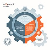 Vector gear circle infographic template for business and industry. Business and industrial concept with processes, options, parts, steps. Can be used for infographics, diagram, graph, presentation.