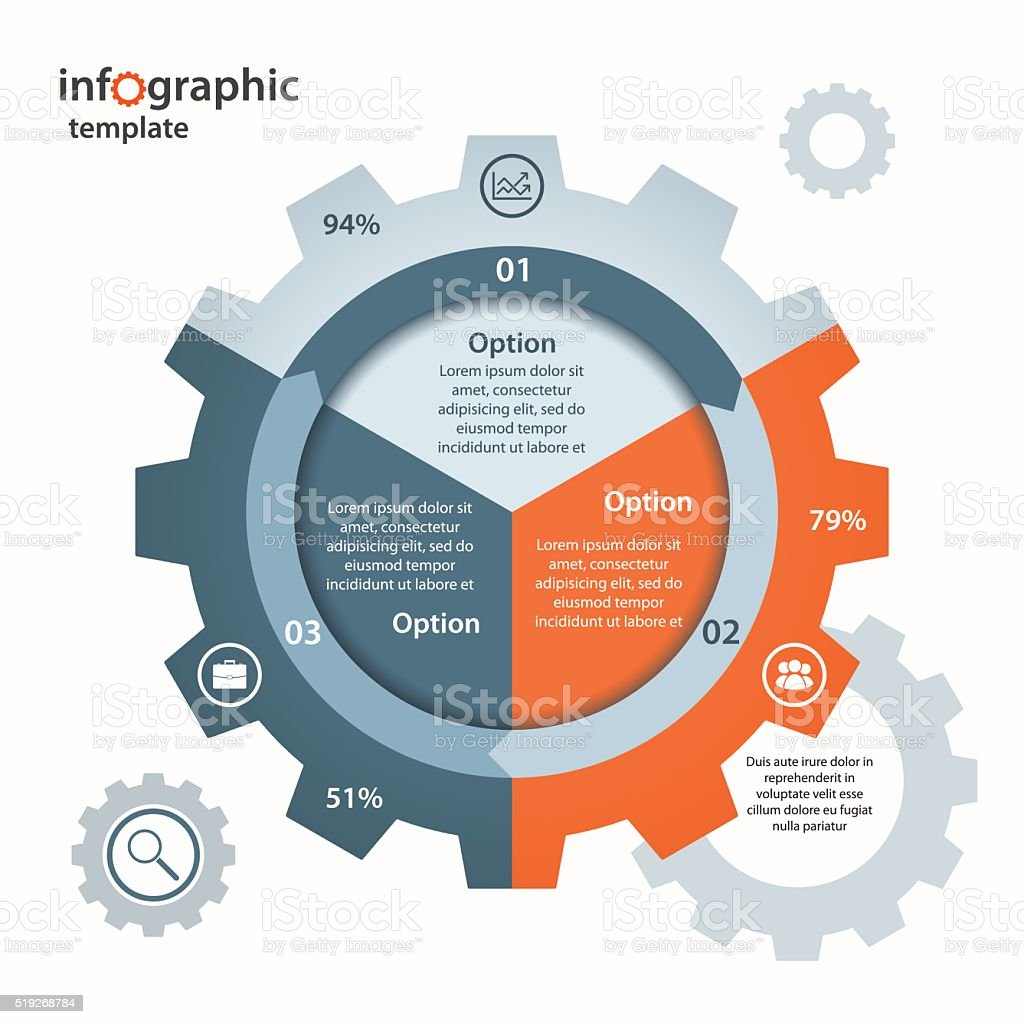 Vector gear circle infographic template for business and industry. vector art illustration