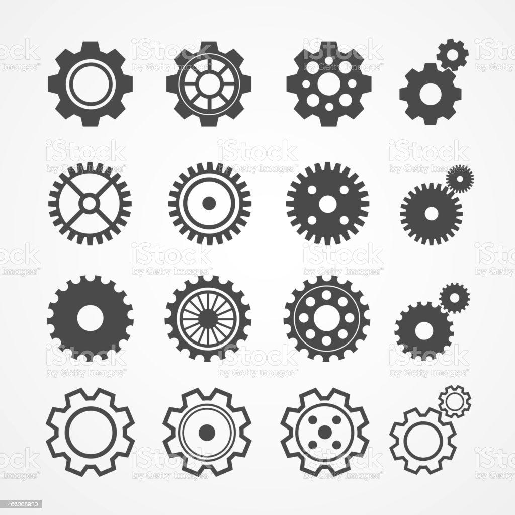 Vector gear icon set. Flat Design vector art illustration