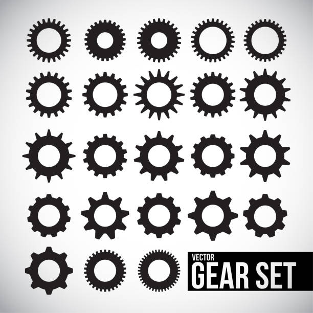 Vector gear icon set vector art illustration