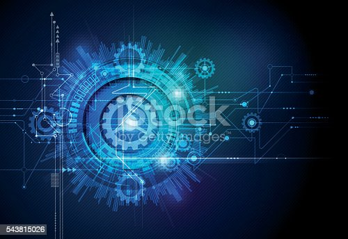istock Vector gear wheel, hexagons and circuit board, technology concept 543815026