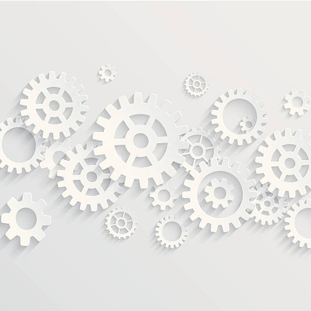 vector gears and cogs background - machine stock illustrations, clip art, cartoons, & icons