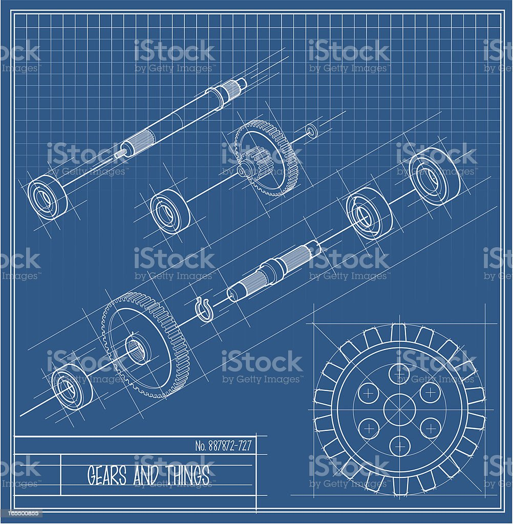 Vector Gears and Things Bluprint royalty-free stock vector art