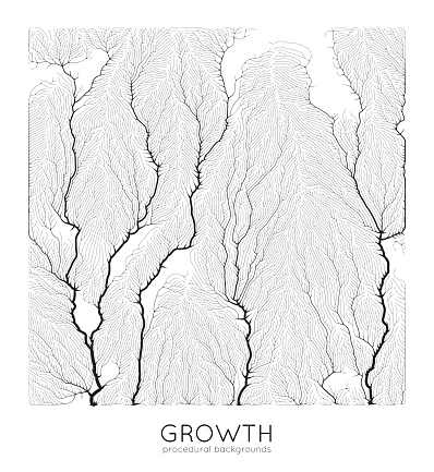 Vector generative branch growth pattern. Square texture. Lichen like organic structure with veins. Monocrome square biological net of vessels.