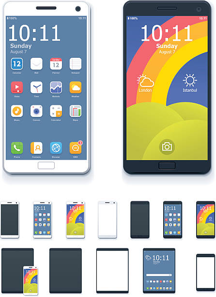 Vector generic smartphones and tablet computers with interface icon set Set of the generic tablets and phones with system interface icons and blank screens projection screen stock illustrations