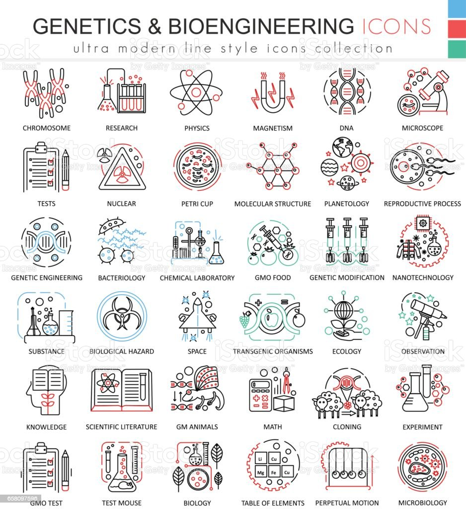 Vector Genetics and biochemistry color flat line outline icons for apps and web design. Genetics chemical high technology elements icons. – Vektorgrafik