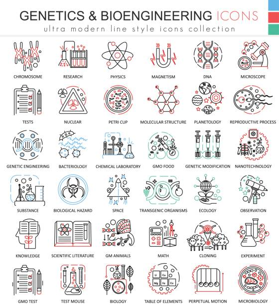 vector genetics and biochemistry color flat line outline icons for apps and web design. genetics chemical high technology elements icons. - bio tech stock illustrations, clip art, cartoons, & icons