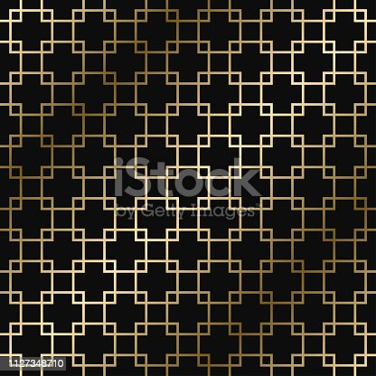 Vector geometric art deco stylish pattern - seamless luxury gold gradient design. Rich endless ornamental background.
