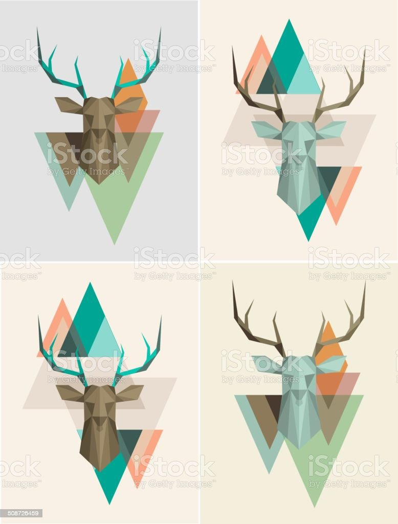 Vector geometric background with deer vector art illustration