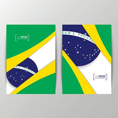 Vector geometric brochure design in Brazil flag concept