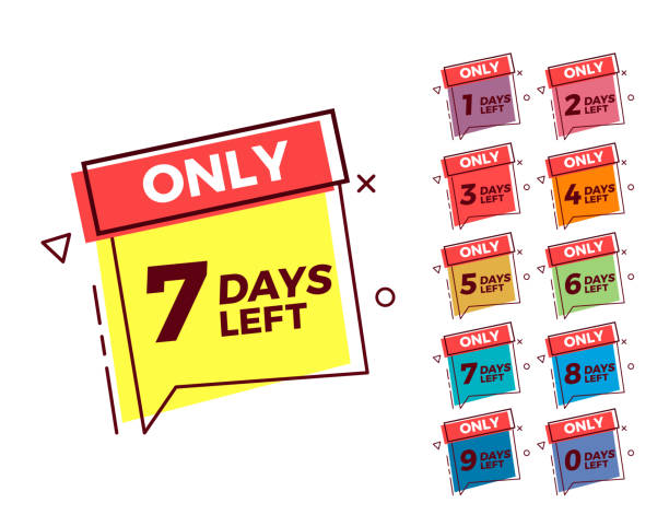 Vector geometric bubble shape tags on different colors with number of days left vector art illustration