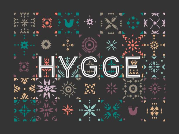 ilustrações de stock, clip art, desenhos animados e ícones de vector geometric colored tiled pattern with the lettering hygge (danish lifestyle). - hygge