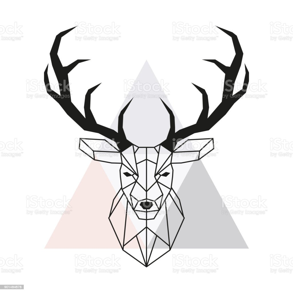 Vector Geometric Deer Head Stag Head And Antlers Low Poly Style ...