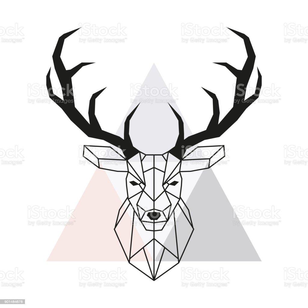Vektör Geometrik Geyik Kafası Geyik Kafası Ve Geyik Boynuzu Düşük