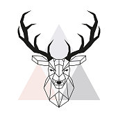 Vector geometric deer head. Stag head and antlers. Low poly style animal drawing. Vector illustration.