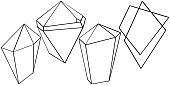 Vector geometric form. Isolated illustration element. Black and white engraved ink art. Geometric quartz polygon crystal stone mosaic shape amethyst gem.