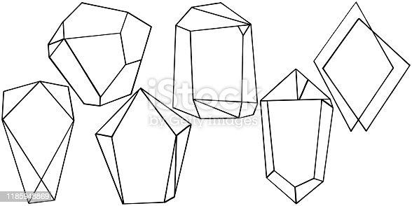 Vector diamond rock jewelry mineral. Isolated illustration element. Geometric quartz polygon crystal stone mosaic shape amethyst gem.