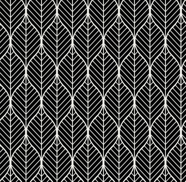 Vector Geometric Leaves Seamless Pattern. Abstract Style Background. Art Deco Geometric texture. vector art illustration