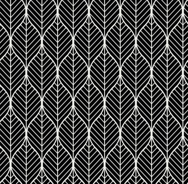 ilustraciones, imágenes clip art, dibujos animados e iconos de stock de vectores geométricos hojas de patrones sin fisuras. fondo de estilo abstracto. texturas geométricas estilo art déco. - textura de hojas