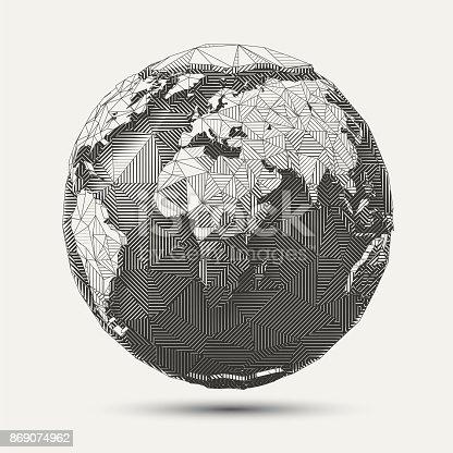 Vector geometric line- art earth globe illustration. Black and white polygonal drawing.