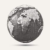 Vector Geometric Line- art Earthglobe