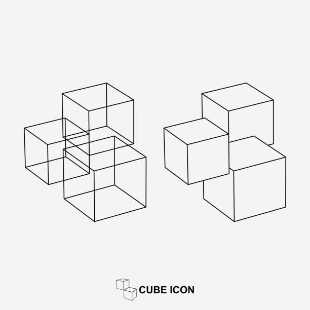 Vector geometric line icon Vector geometric line icon cube shape stock illustrations