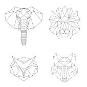 Vector geometric low poly illustrations set.