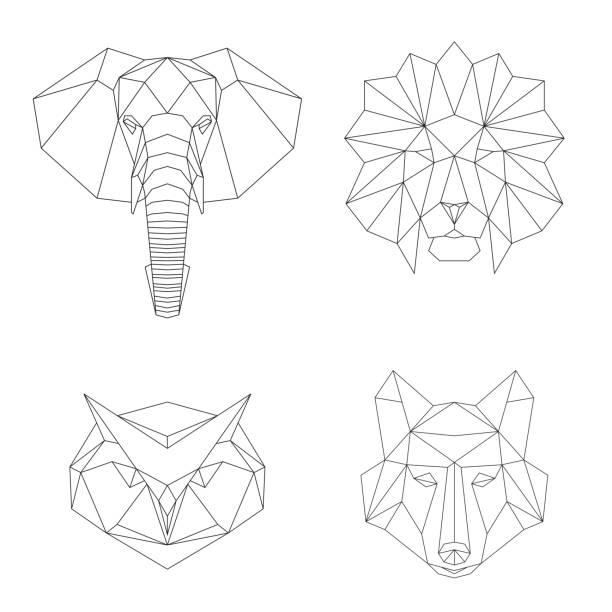 Jeu d'illustrations vectorielles géométrique low poly. - Illustration vectorielle