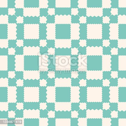 istock Vector geometric ornament pattern with jagged shapes. Aqua green and beige color 1234871419