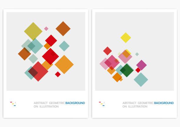 stockillustraties, clipart, cartoons en iconen met vector geometrische patroon achtergronden - vierkant compositie