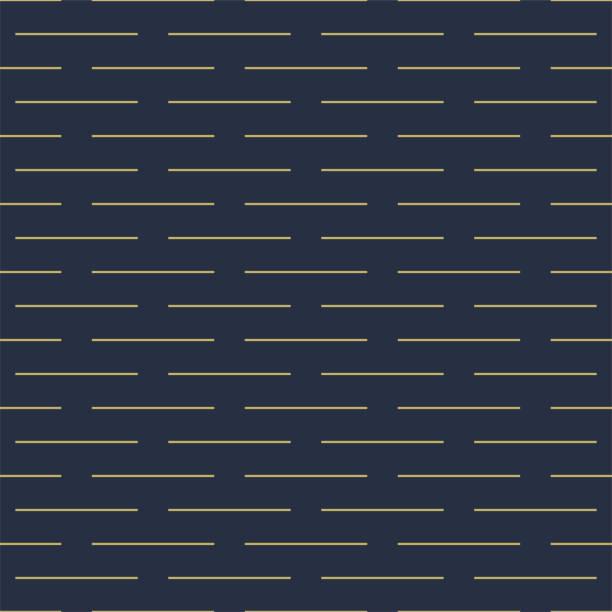 Vector geometric seamless horizontal dash pattern - goldish striped rich texture. Stylish blue background Vector geometric seamless horizontal dash pattern - goldish striped rich texture. Stylish blue background - trendy minimalistic luxury design. hyphen stock illustrations