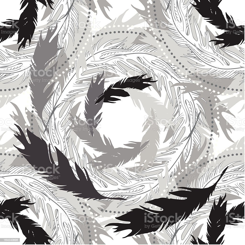 vector geometric seamless pattern from feathers of birds royalty-free stock vector art