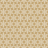 Vector geometric gold and white seamless pattern in Japanese style. Ornamental texture with linear floral shapes. Abstract wooden background, repeat tiles. Design for decor, cloth, fabric, gift paper