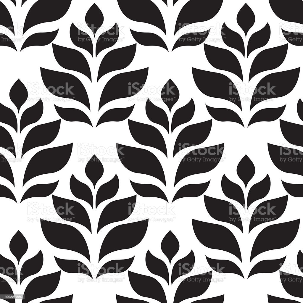Vector geometric seamless pattern. Modern floral, leaves texture vector art illustration