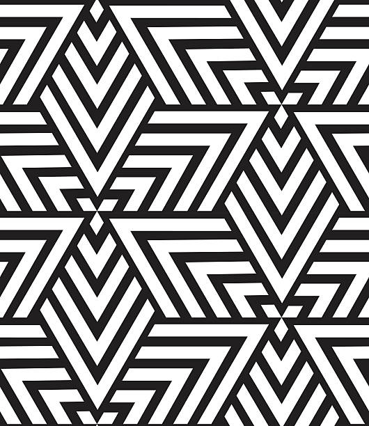 vector geometric seamless pattern. modern triangle texture, repe - black and white pattern stock illustrations, clip art, cartoons, & icons