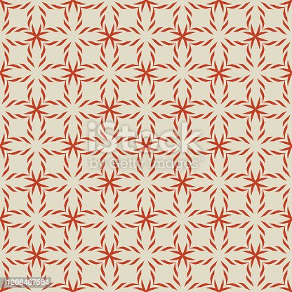 istock Vector geometric seamless pattern. Simple ornament texture with crosses, grid 1266467584