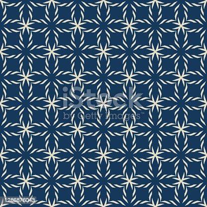 istock Vector geometric seamless pattern. Simple ornament texture with crosses, grid 1286876043
