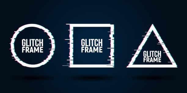 vektor geometrische formen rahmen mit glitch-effekt. moderne trendige hintergründe für design-karte, plakat, flyer, cover, banner - edm stock-grafiken, -clipart, -cartoons und -symbole