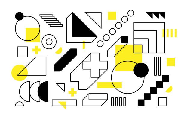 Vector Geometrische Formen eingestellt. Einfache Gestaltungselemente – Vektorgrafik